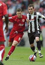 TOM NEWEY, GRIMSBY TOWN, CAPTAIN, ALAN NAVARRO MK DONS, Milton Keynes MK Dons-Grimsby Town, Johnstones Paint Trophy Final Wembley 30th March 2008, Score 2-0