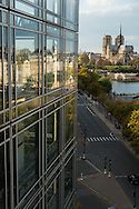 France. Paris. elevated view. Institut du monde arabe, the terace with a view on the Seine River, Notre dame and Saint Louis island