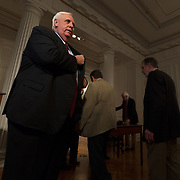 Governor Jim Justice stands up to leave a press conference at the capitol building on the fourth day of statewide walkouts in Charleston, W.V., on Tuesday, February 27, 2018.