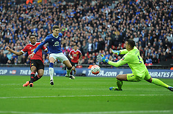 Anthony Martial of Manchester United scores the winning goal. - Mandatory by-line: Alex James/JMP - 23/04/2016 - FOOTBALL - Wembley Stadium - London, England - Everton v Manchester United - The Emirates FA Cup Semi-Final