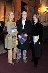 Left to right, SUZY BUCHANNAN, her father NICHOLAS PARSONS and ANNIE PARSONS attend the premier of 2012 Cirque du Soleil's Totem at the Royal Albert Hall, London on 5th January 2012,