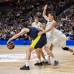 March 2, 2018 - Madrid, Madrid, Spain - Nikola Kalinic (L) and Jaycee Carroll (R)  during Fenerbahce Dogus Istanbul victory over Real Madrid (83 - 86) in Turkish Airlines Euroleague regular season game (round 24) celebrated at Wizink Center in Madrid (Spain). March 2nd 2018. (Credit Image: © Juan Carlos Garcia Mate/Pacific Press via ZUMA Wire)
