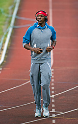 © London News Pictures. File pic dated 04/08/2012. Olympic triple jump Athlete Phillips Idowu training at White Hart Lane Community Sports Centre in Wood Green, North London on August 4, 2012 ahead of competing in the London 2012 Olympic Games. Former world champion Phillips Idowu is one of a number of high-profile GB athletes to lose their lottery funding for 2013-14. Photo Credit: Ben Cawthra/LNP