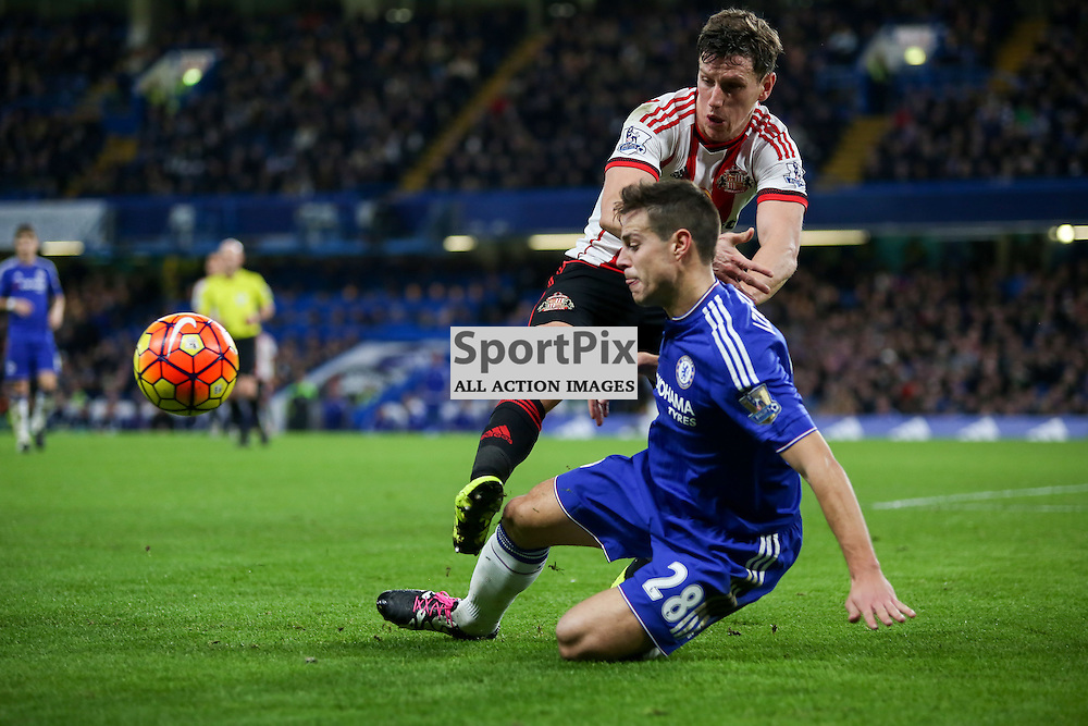 Cesar Azpilicueta tackles BILLY JONES of Sunderland AFC During Chelsea vs Sunderland on Saturday the 19th December 2015.