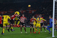 Football - 2018 / 2019 Premier League - Southampton vs. Crystal Palace<br /> <br /> Mamadou Sakho of Crystal Palace puts a close range header over the bar at St Mary's Stadium Southampton<br /> <br /> COLORSPORT/SHAUN BOGGUST