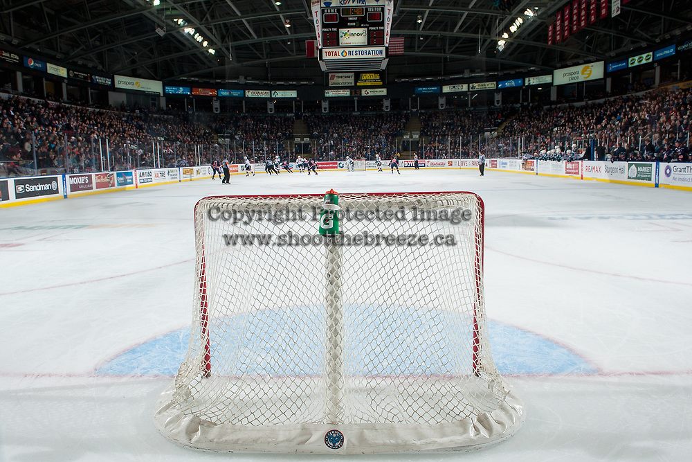 KELOWNA, CANADA - DECEMBER 27: The Kamloops Blazers pull Dylan Ferguson #31 of the Kamloops Blazers from net during the third period to tie the game and force over time against the Kelowna Rockets on December 27, 2017 at Prospera Place in Kelowna, British Columbia, Canada.  (Photo by Marissa Baecker/Shoot the Breeze)  *** Local Caption ***
