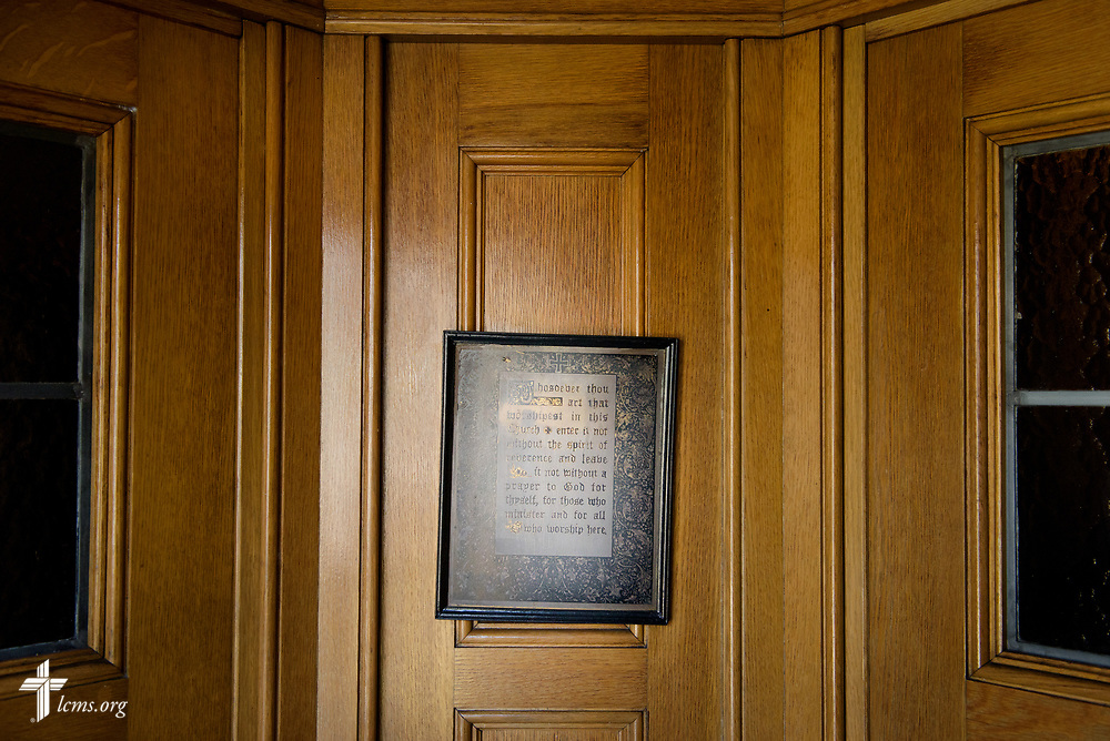 A framed inscription on reverence at Our Savior Lutheran Church on Saturday March 24, 2018, in Baltimore. LCMS Communications/Erik M. Lunsford