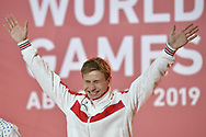Abu Dhabi, United Arab Emirates - 2019 March 15: Evgenii Elmeev from SO Russia took the first place and gold medal in roller skating during Special Olympics World Games Abu Dhabi 2019 on March 15, 2019 in Abu Dhabi, United Arab Emirates. (Mandatory Credit: Photo by (c) Adam Nurkiewicz)