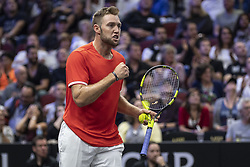 September 22, 2018 - Chicago, Illinois, U.S - Team World member JACK SOCK of the United States celebrates a point during the first doubles match on Day One of the Laver Cup at the United Center in Chicago, Illinois. (Credit Image: © Shelley Lipton/ZUMA Wire)