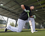 GLENDALE, ARIZONA - FEBRUARY 19:  Jose Abreu #72 of the Chicago White Sox looks on during spring training workouts on February 19, 2017 at Camelback Ranch in Glendale Arizona.  (Photo by Ron Vesely). Subject:  Jose Abreu