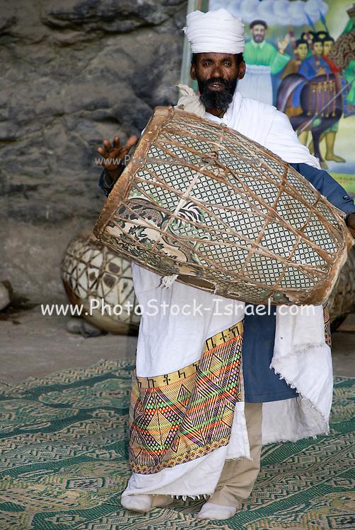 Africa, Ethiopia, Lalibela, Interior of Rock Hewn church. Celebrating Sunday Mass
