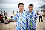 "Chinese tourists on the main beach ""Donghai"" in Sanya, China."