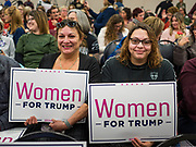 16 JANUARY 2020 - DES MOINES, IOWA: MARIBELLE RIVERA and her daughter, ANDRIANA RIVERA, from Scranton, IA, at the Women for Trump rally in Airport Holiday Inn in Des Moines. About 200 women attended the event, which featured Lara Trump, Mercedes Schlapp, and Kayleigh McEnany, surrogates on the campaign trail for President Donald Trump.      PHOTO BY JACK KURTZ