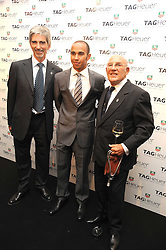 Left to right, DAMON HILL, LEWIS HAMILTON and SIR STIRLING MOSS at the TAG Heuer British Formula 1 Party at the Mall Galleries, London on 15th September 2008.
