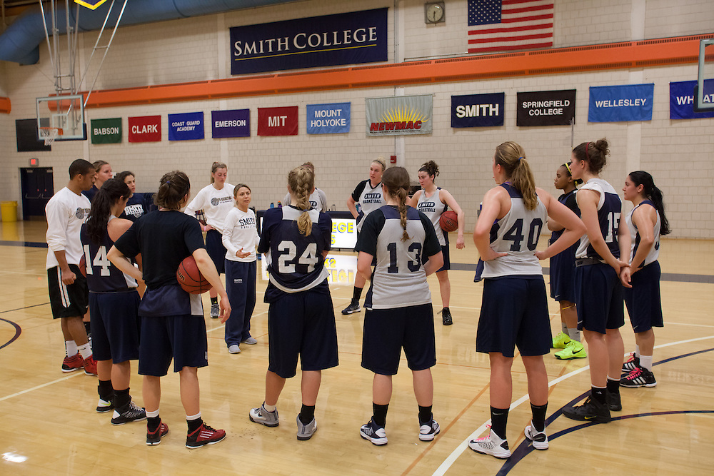 Head coach Lynn Hersey (inside circle) talks to the Smith College women's basketball team during practice on Wednesday, February 27, 2013. The Pioneers are in the NCAA tournament for the first time and will play Southern Maine Huskies on Friday.  (Matthew Cavanaugh for The Boston Globe)The Smith College women's basketball team practices on the Senda Berenson Court at Smith College on Wednesday, February 27, 2013.  (Photo by Matthew Cavanaugh)