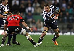 Stormers eighthman Nick Koster  attempts to step past Kahn Fotuali'i Of the Crusaders during the Super Rugby Semi-Final match between DHL Stormers and the Crusaders held at DHL Newlands Stadium in Cape Town, South Africa on 2 July 2011...Photo by Shaun Roy / Sportzpics.net