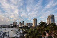 Morning view of the Vinoy basin, the St. Petersburg skyline, and clouds from the Vinoy Hotel in St. Petersburg, Florida. Image taken with a Nikon D2xs camera and 14-28 mm f/2.8 len (ISO 100, 20 mm, f/11, 1/60 sec).