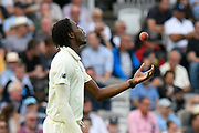 Jofra Archer of England tossing the ball during the International Test Match 2019 match between England and Australia at Lord's Cricket Ground, St John's Wood, United Kingdom on 18 August 2019.