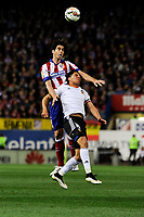 Atletico de Madrid´s Tiago Cardoso and Valencia CF´s Enzo Perez during 2014-15 La Liga match between Atletico de Madrid and Valencia CF at Vicente Calderon stadium in Madrid, Spain. March 08, 2015. (ALTERPHOTOS/Luis Fernandez)