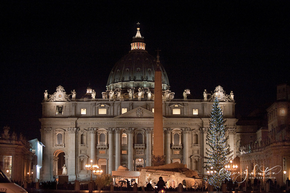 St. Peter's Basilica at night with nativity creche. The Papal Basilica of Saint Peter (Latin: Basilica Sancti Petri), officially known in Italian as the Basilica Papale di San Pietro in Vaticano and commonly known as St. Peter's Basilica, is a Late Renaissance church located within the Vatican City. St. Peter's Basilica has the largest interior of any Christian church in the world.