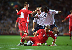 BIRMINGHAM, ENGLAND - Monday, October 13, 2008: Wales' Jack Collison and England's Fabrice Muamba during the UEFA European Under-21 Championship Play-Off 2nd Leg match at Villa Park. (Photo by Gareth Davies/Propaganda)