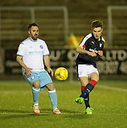 Dundee's Matty Smyth and Forfar's Cahrlie King - Forfar Athletic v Dundee, Martyn Fotheringham testimonial at Station Park, Forfar.Photo: David Young<br /> <br />  - © David Young - www.davidyoungphoto.co.uk - email: davidyoungphoto@gmail.com