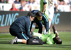 Bacary Sagna of Manchester City looks in pain as he receives medical treatment. - Mandatory by-line: Alex James/JMP - 15/05/2016 - FOOTBALL - Liberty Stadium - Swansea, England - Swansea City v Manchester City - Barclays Premier League