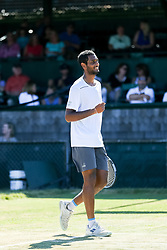 July 19, 2018 - Newport, RI, U.S. - NEWPORT, RI - JULY 19: Ram Ramanathan (IND) enjoys his win over Vasek Pospisil (CAN) after their quarterfinal match in the Dell Technologies Hall of Fame Open at the International Tennis Hall of Fame in Newport, Rhode Island on July 19, 2018. Ramanathan won the match 7-5, 6-2 and advanced to the semifinals. (Photo by Andrew Snook/Icon Sportswire) (Credit Image: © Andrew Snook/Icon SMI via ZUMA Press)