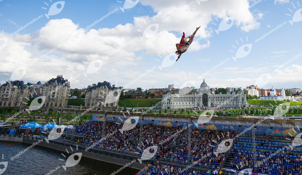 NAVRATIL Michael CZE dressed as Superman<br /> High Diving - Men's 27m final<br /> Day 13 05/08/2015<br /> XVI FINA World Championships Aquatics Swimming<br /> Kazan Tatarstan RUS July 24 - Aug. 9 2015 <br /> Photo Giorgio Perottino/Deepbluemedia/Insidefoto