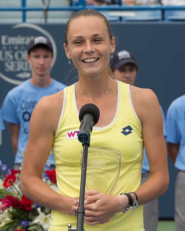 August 23, 2014, New Haven, CT:<br /> Magdalena Rybarikova speaks after receiving the finalist's trophy during a ceremony following the Singles Final on day nine of the 2014 Connecticut Open at the Yale University Tennis Center in New Haven, Connecticut Saturday, August 23, 2014.<br /> (Photo by Billie Weiss/Connecticut Open)
