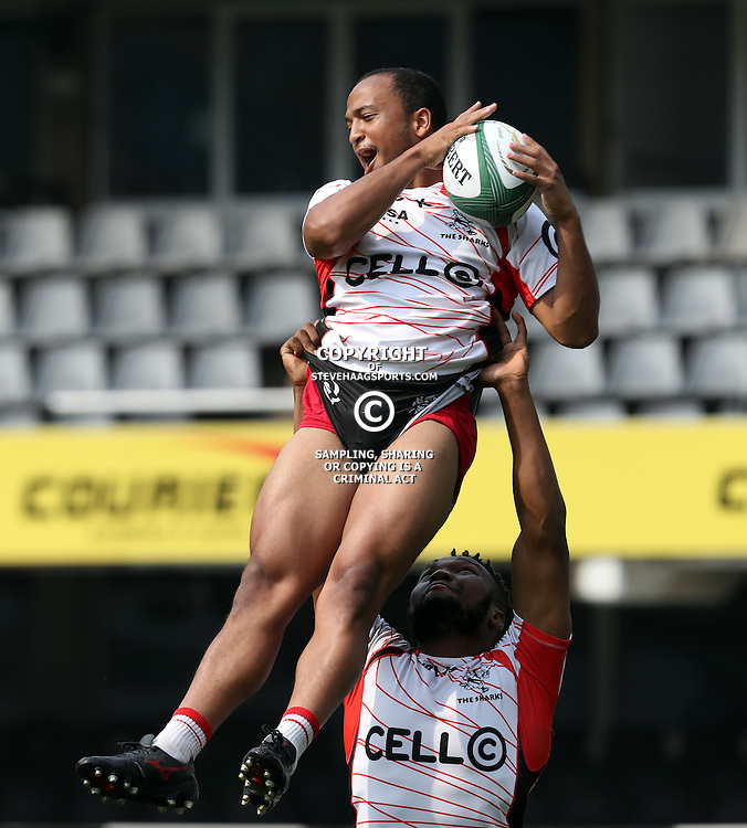 DURBAN, SOUTH AFRICA - SEPTEMBER 16: Lukhanyo Am holds up Rhyno Smith during the Cell C Sharks XV Captains run at Growthpoint Kings Park on September 16, 2016 in Durban, South Africa. (Photo by Steve Haag)<br /> <br /> images for social media must have consent from Steve Haag