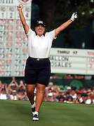 Meg Mallon celebrates winning the LPGA U.S. Women's Open at The Orchards Golf Club in South Hadley, Mass.