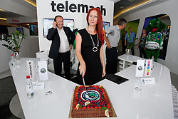 Ditka Maucec of UPC Telemach with birthday cake at HDD UPC Telemach Olimpija Press Conference about new main sponsor UPC Telemach as main sponsor of HDD Olimpija, on June 20, 2012 at UPC Telemach, Ljubljana, Slovenia. (Photo By Matic Klansek Velej / Sportida)