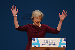 October 5, 2016 - Birmingham, United Kingdom - Image licensed to i-Images Picture Agency. 05/10/2016. Birmingham, United Kingdom. Prime Minister Theresa May  gives  her speech on the final day of the Conservative Party Conference  in Birmingham, United Kingdom.  Picture by Stephen Lock / i-Images (Credit Image: © Stephen Lock/i-Images via ZUMA Wire)