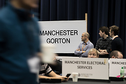 © Licensed to London News Pictures . 08/06/2017 . Manchester , UK . Counting area for Manchester Gorton . The count for the constituencies of Blackley and Broughton, Manchester Central, Manchester Gorton, Manchester Withington and Wythenshawe and Sale East, in the General Election, at the Manchester Central Convention Centre . Photo credit : Joel Goodman/LNP