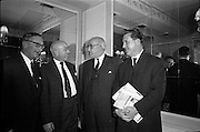 11/01/1963<br /> 01/11/1963<br /> 11 January 1963<br /> Leipzig Fair reception and film show at the Gresham Hotel, Dublin. At the reception were (l-r): K. Ticher, Ticher Ltd.; Denis Hayes, Leipzig Fair Agency in Great Britain; J.J. Glavin, Irish Sugar Co., Dublin and W. King.