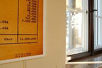 15 JAN 2002, BERLIN/GERMANY:<br /> Teil einer Reproduktion eines Originaldokuments Zahl der Juden nach Schaetzung Eichmanns (11.000.000) und ein Fenster mit Blick auf den Wannnsee, Gedenk- und Bildungsstaette Haus der Wannsee-Konferenz, Am Grossen Wannsee 56-58, 14109 Berlin<br /> IMAGE: 20020115-01-026<br /> KEYWORDS: