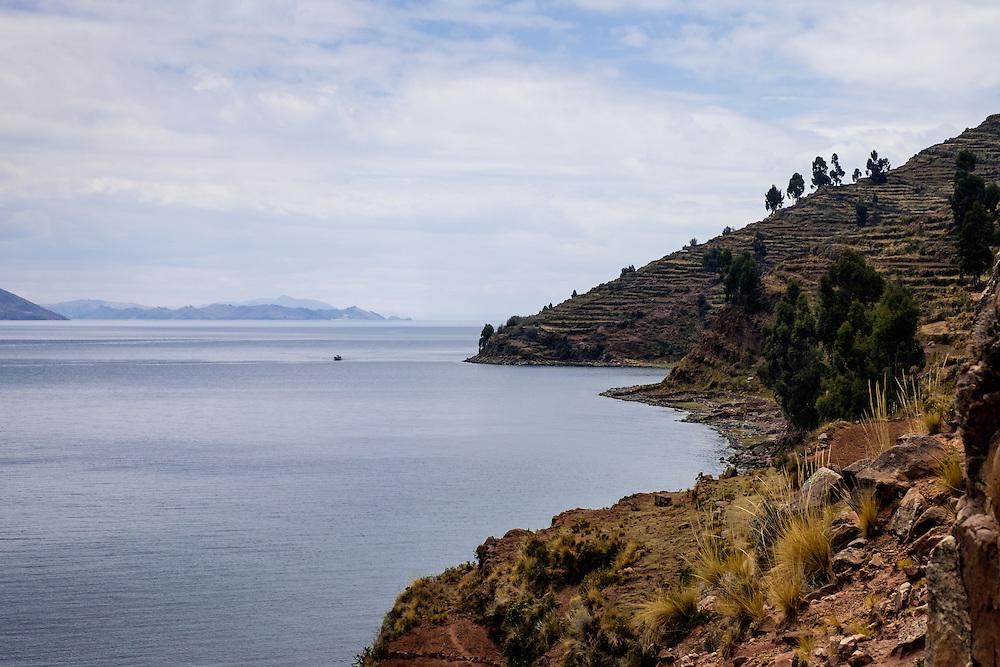 TAQUILE, PERU - CIRCA OCTOBER 2015:  Island of Taquile in Lake Titicaca.