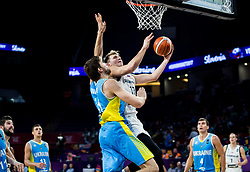 Viacheslav Kravtsov of Ukraine vs Luka Doncic of Slovenia during basketball match between National Teams of Slovenia and Ukraine at Day 10 in Round of 16 of the FIBA EuroBasket 2017 at Sinan Erdem Dome in Istanbul, Turkey on September 9, 2017. Photo by Vid Ponikvar / Sportida