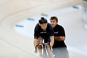 Ethan Mitchell and sprint coach Anthony Peden in the Avanti BikeNZ Classic, Avantidrome, Cambridge, New Zealand, Thursday, September 18, 2014, Credit: Dianne Manson/BikeNZ
