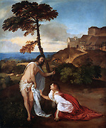 Noli me Tangere' c1514. Oil on canvas.  Tiziano Vecellio called Titian (c1488/1490-1576) leading painter of  the Venetian school in Italian Renaissance. Christ appearing to Mary Magdalene after his resurrection.  Christianity.