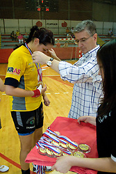 Andrea Lekic and president of RZS Franjo Bobinac at the Final handball game of the Slovenian Women handball Championship between RK Krim Mercator and RK Olimpija when Krim Mercator won the Championship and became Slovenian National Champion, on May 23, 2009, Kodeljevo, Ljubljana, Slovenia.  (Photo by Klemen Kek / Sportida)