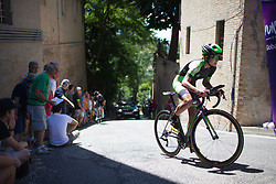 Krista Doebel-Hickok (USA) of Cylance Pro Cycling rides near the top of the final climb of Stage 5 of the Giro Rosa - a 12.7 km individual time trial, starting and finishing in Sant'Elpido A Mare on July 4, 2017, in Fermo, Italy. (Photo by Balint Hamvas/Velofocus.com)