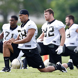 May 24, 2012; Metairie, LA, USA; New Orleans Saints rookie wide receiver Nick Toon (88) stetches during organized team activities at the team's practice facility. Mandatory Credit: Derick E. Hingle-US PRESSWIRE