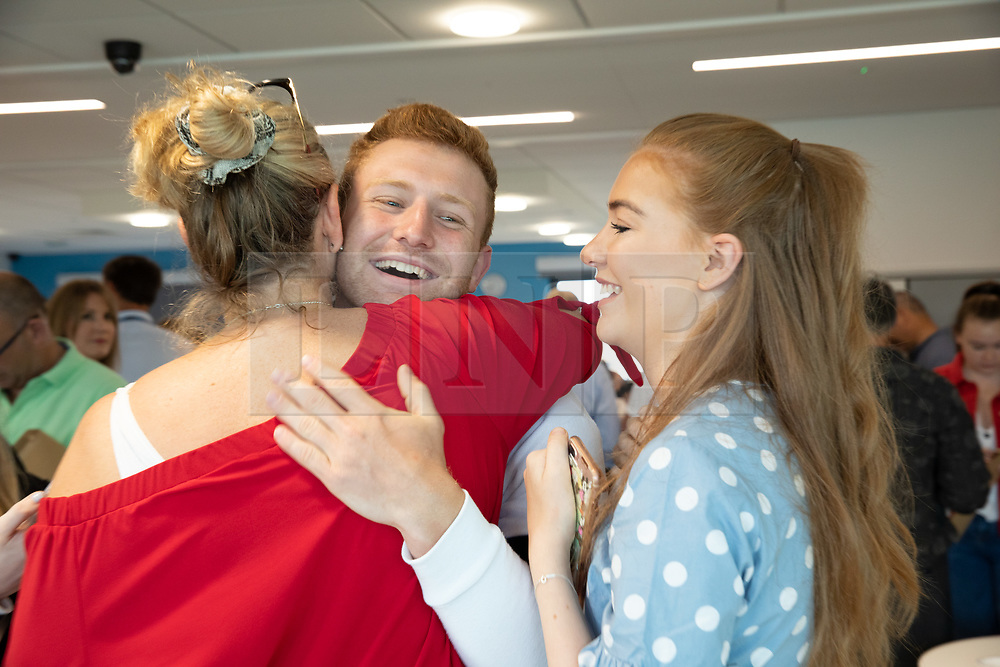© Licensed to London News Pictures. 15/08/2019. Solihull, West Midlands UK. Solihull School A level results. Pictured, William celebrates his A level results. Photo credit: Dave Warren/LNP