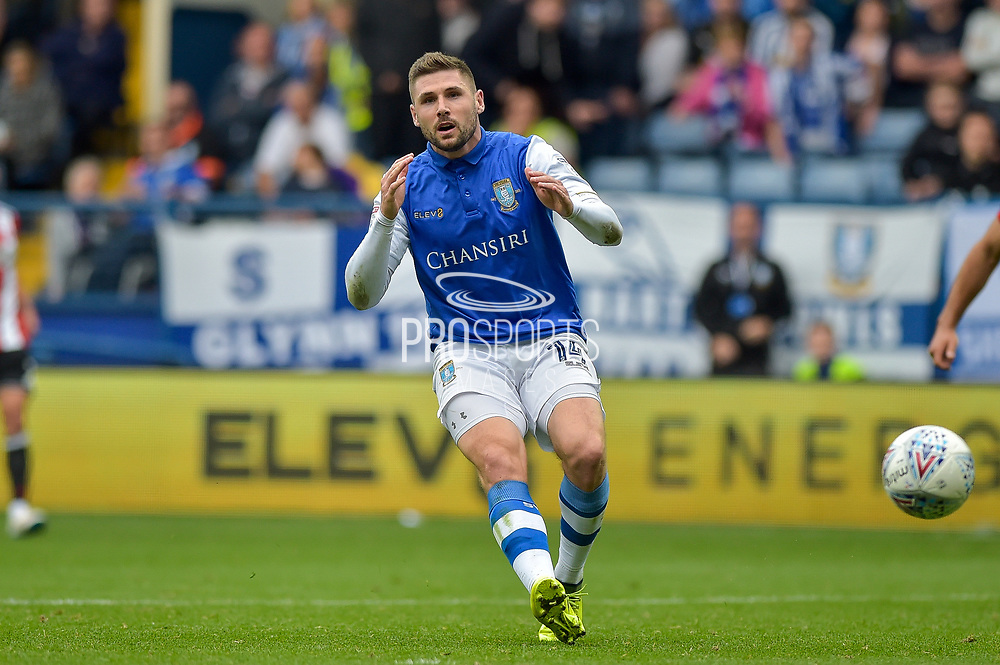 Sheffield Wednesday forward Gary Hooper (14)  during the EFL Sky Bet Championship match between Sheffield Wednesday and Sheffield Utd at Hillsborough, Sheffield, England on 24 September 2017. Photo by Adam Rivers.