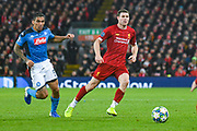 Liverpool midfielder James Milner (7) and Napoli midfielder Allan (5) in action during the Champions League match between Liverpool and Napoli at Anfield, Liverpool, England on 27 November 2019.