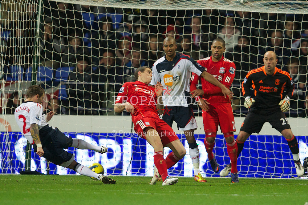 BOLTON, ENGLAND - Saturday, January 21, 2011: Bolton Wanderers' Gretar Rafn Steinsson scores the third goal against Liverpool during the Premiership match at the Reebok Stadium. (Pic by David Rawcliffe/Propaganda)