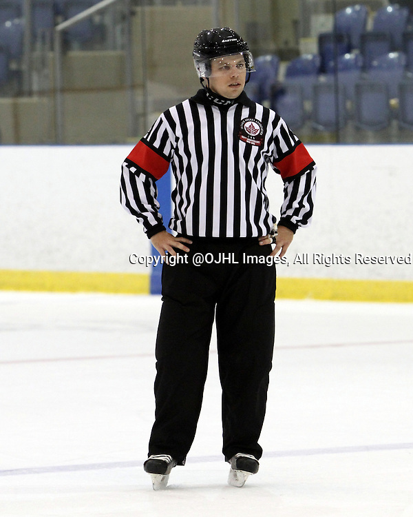 KINGSTON, ON - Oct 8, 2015 : Ontario Junior Hockey League game action between the Aurora Tigers and the Kingston Voyageurs. Referee Blair Lafave. (Photo by Robert John Boucher / OJHL Images)