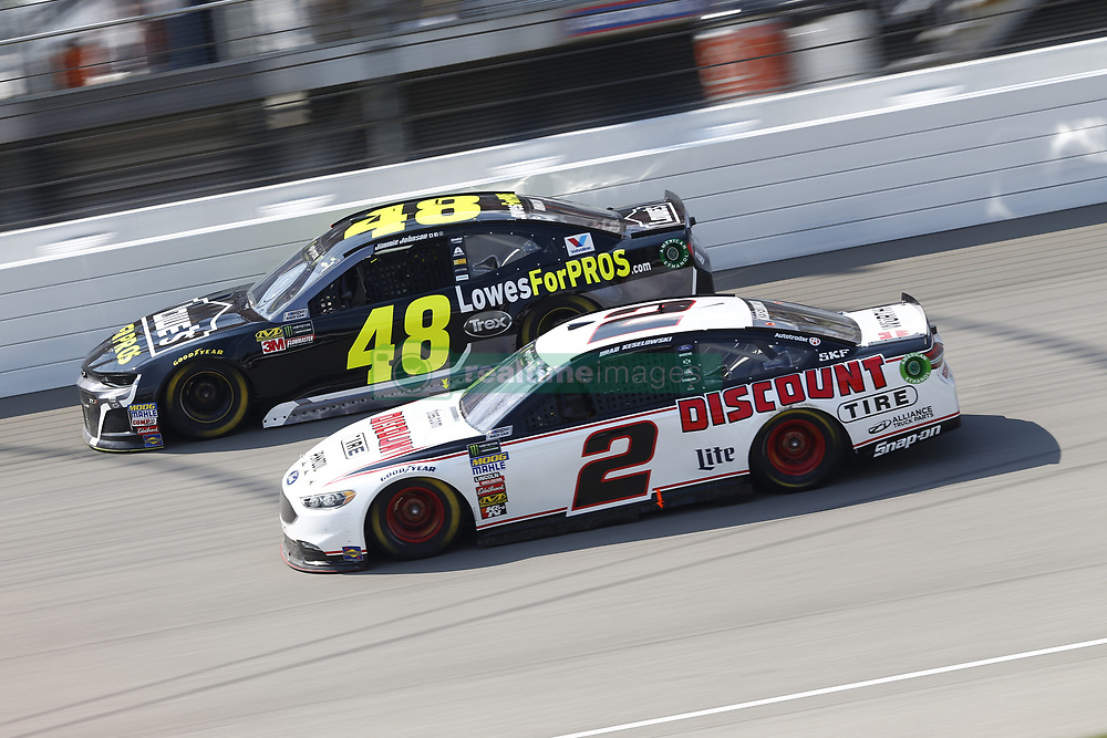 August 12, 2018 - Brooklyn, Michigan, United States of America - Jimmie Johnson (48) and Brad Keselowski (2) battle for position during the Consumers Energy 400 at Michigan International Speedway in Brooklyn, Michigan. (Credit Image: © Chris Owens Asp Inc/ASP via ZUMA Wire)
